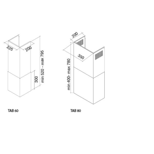 Falmec Воздуховод для Tab 60 Inox